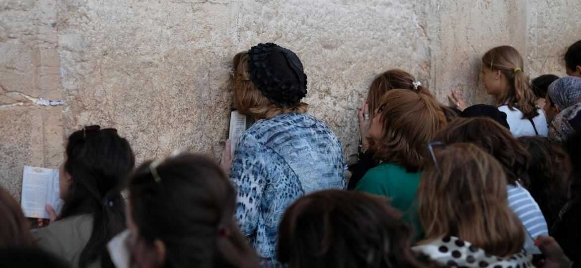 Jewish women praying in the Western Wall or Kotel in the old city East Jerusalem Israel